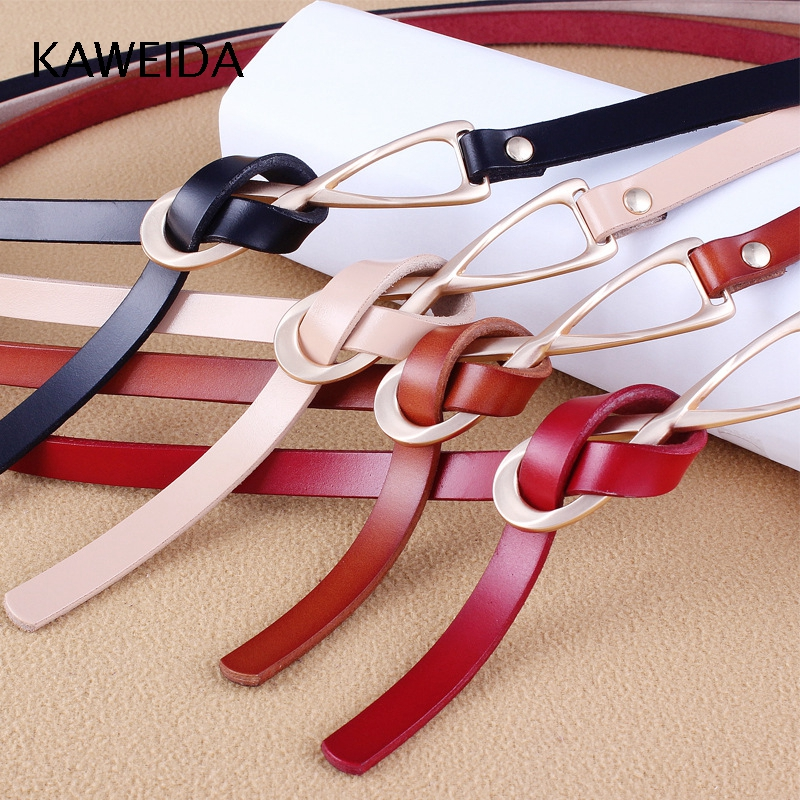 KAWEIDA Fashion Women's Cowskin Genuine Split Leather Thin   Belts   Female Gold Tie Buckle Ladies Waist   Belt   for Dresses Waistband