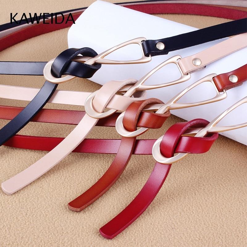 KAWEIDA Fashion Women's Cowskin Genuine Split Leather Thin   Belts   Female Gold Tie Buckle Ladies Waist   Belt   for Dresses Waistband