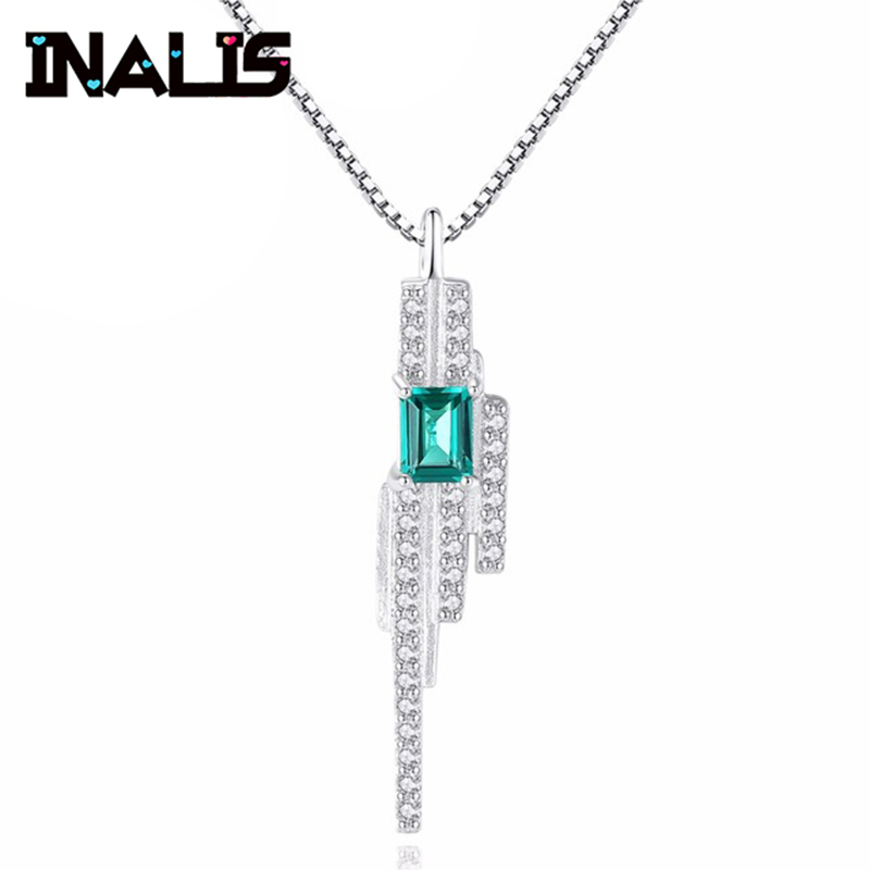 New Luxurious Wedding Party Fine Jewelry S925 Sterling Silver Emerald Gemstone with Clear CZ Crystal Pendant Necklace