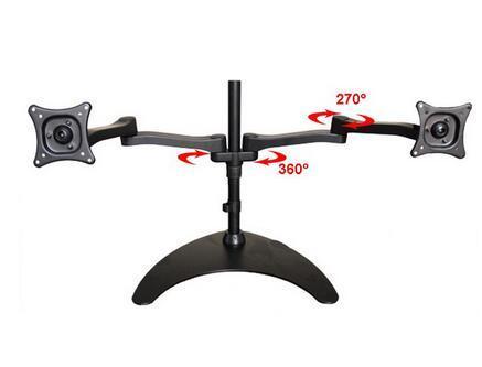 "13-24"" Dual Screen Monitor Holder Desktop Stand Full Rotation TV Mount Arm Bracket ML1002"