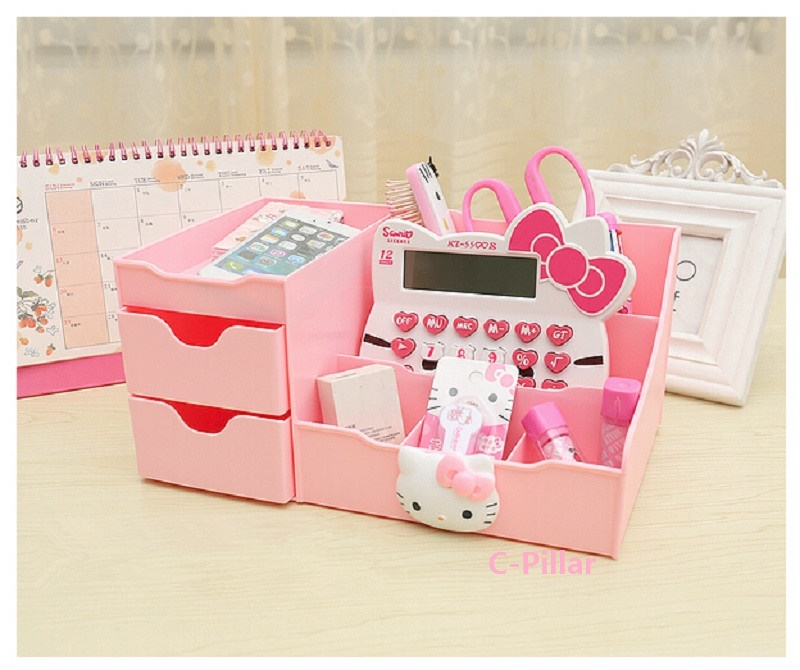 Online 2017 O Kitty Pattern Stroage Box Makeup Organizer Bo Pink Drawer Case Desktop Jewelry Holder Free Shipping Aliexpress Mobile