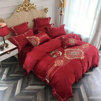 2018 Red European Mandala Wedding Duvet Cover Set Embroidery Bed Cover 4Pc Queen King Size Bedlinens Flat Sheet Bedding