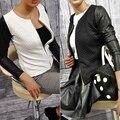New Arrival Women's Fashion Casual Faux Leather Splicing Zipper Long Sleeve Jacket Coat