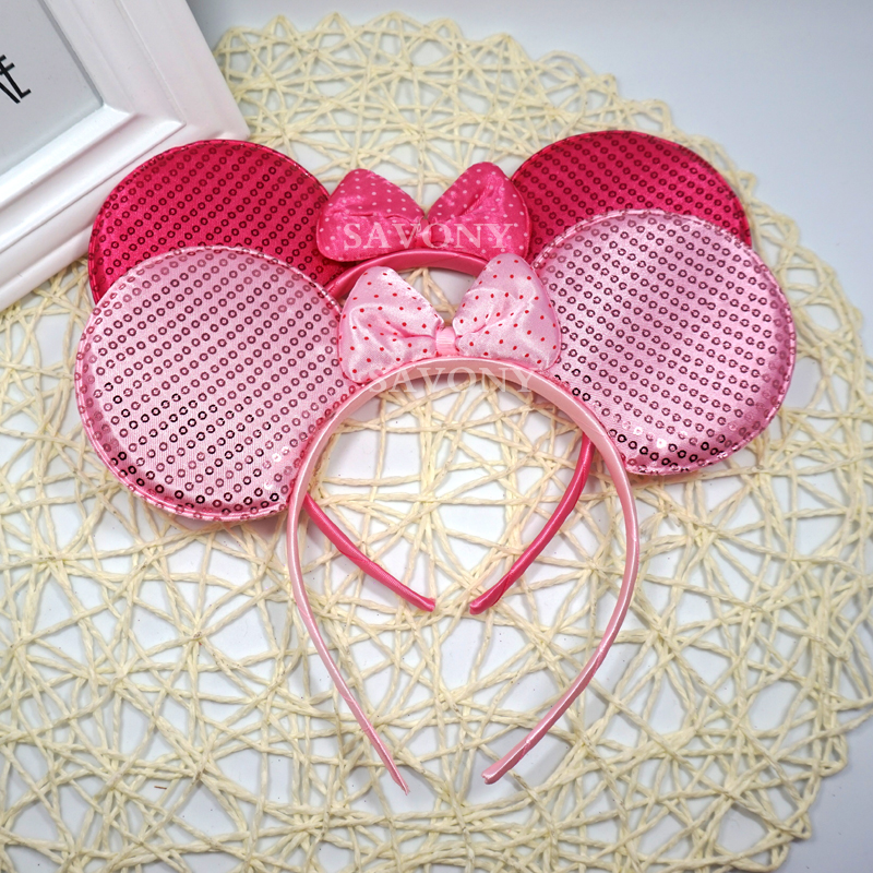 Lovely Pink Kids Baby Minnie Mouse Ear Hair Accessories Girls Headband Children Birthday Headwear Party Accessories