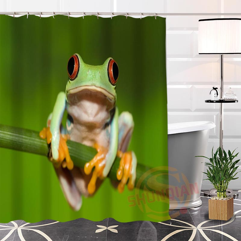 Eco Friendly Custom Unique Green Frog Fabric Modern Shower Curtain Bathroom  Waterproof For Yourself H0220
