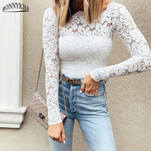RONNYKISE Sexy Lace Neck Tops Womens Fashion Long Sleeve Slim Fit Autumn Casual Shirts Female Clothes