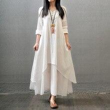 Envsoll платья для беременных, имитация двух частей, платье для беременных, литературное льняное платье, одежда для беременных женщин, свободное платье с длинными рукавами