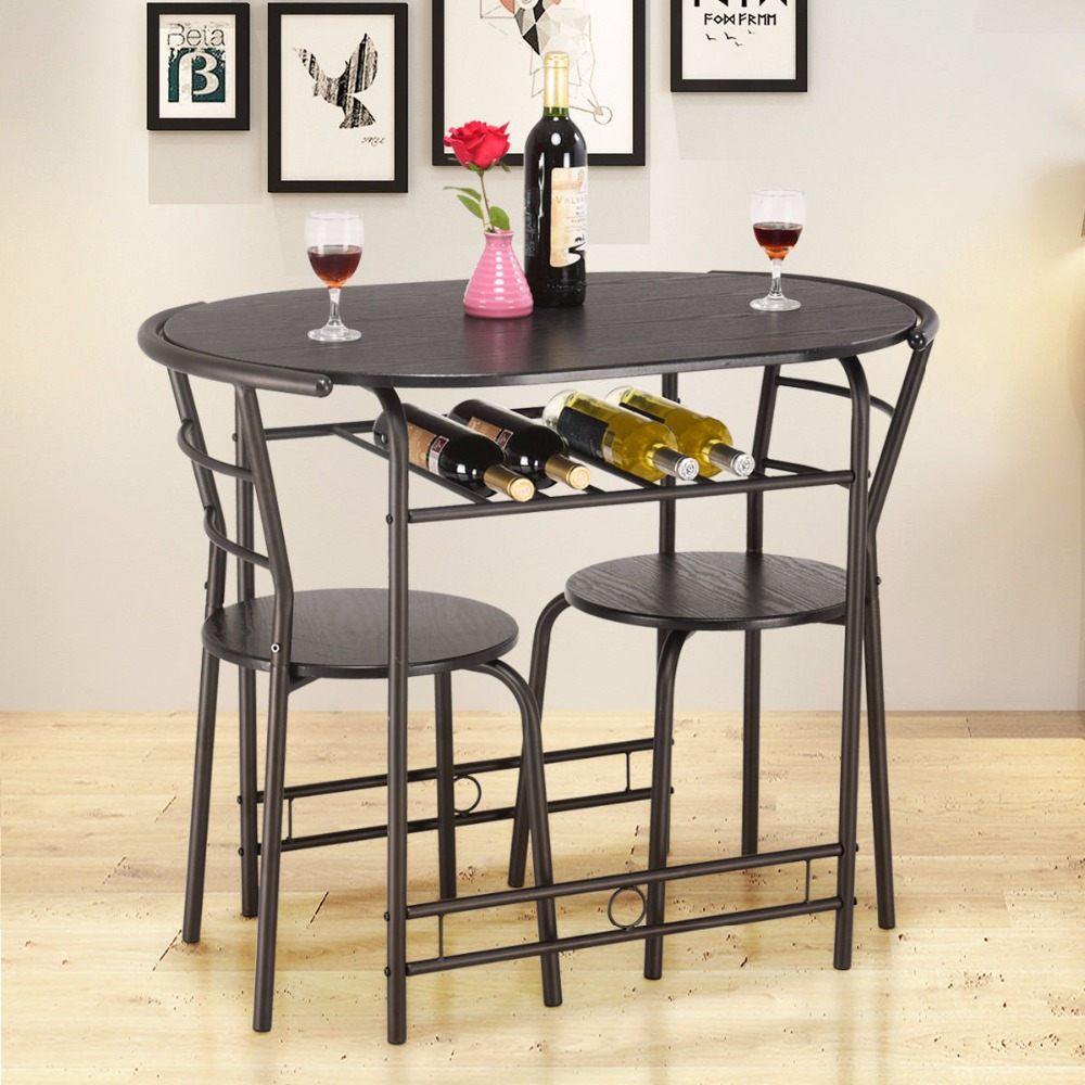 Giantex 3 PCS Dining Set Table and 2 Chairs Home Kitchen Breakfast Bistro Pub Furniture Modern Dining Room Furniture HW57334BK