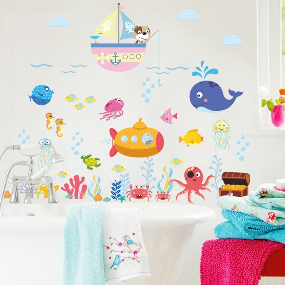 underwater fish bubble wall stickers for kids rooms bathroom bedroom home decor cartoon animals wall decals diy mural art(China)