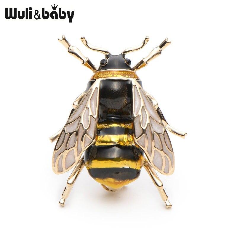 Wuli & bébé émail Bumblebee broches hommes femmes alliage jaune abeille insecte Broche cadeau de noël Broche Banquet broches