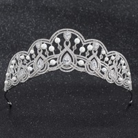 2019 New Crystals CZ Cubic Zirconia Wedding Bridal Pearls Tiara Diadem Crown Women Prom Hair Jewelry Accessories CH10257