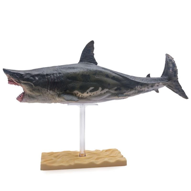 PNSO Megalodon Shark With Bracket Stand Support Classic Toys For Children Boys Sea life Ancient Animal