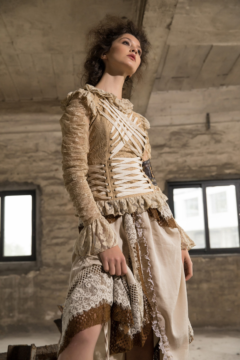 Falda Gótico Lolita Las Costura Primavera Corte Asimétrica Steampunk De Rq Brown Cariño Mujeres Encaje 5PwgXRxq