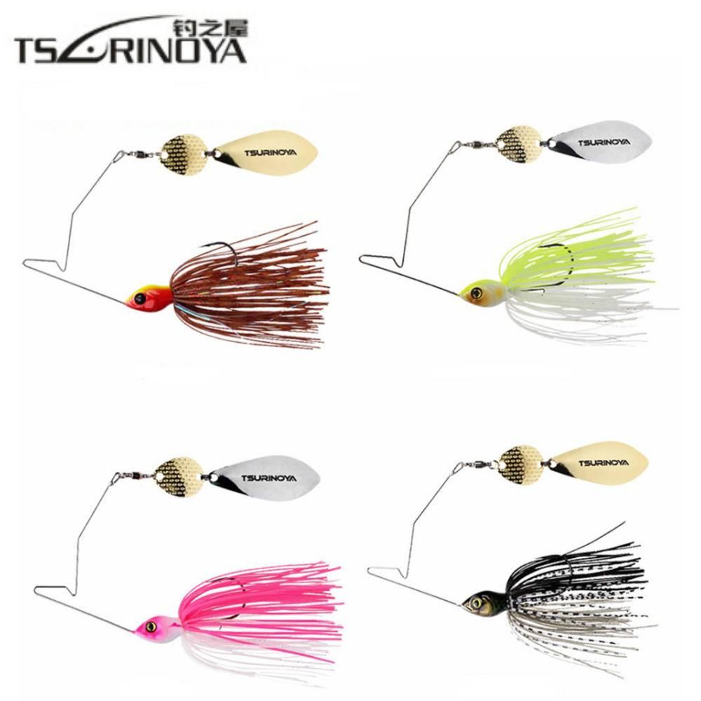 TSURINOYA 4Pcs / Lot Spinner Bait Head Peso 11g Gomma Jig Heag Fishing Lure Spinnerbait Metal Spoon Buzzbait con gancio spinato