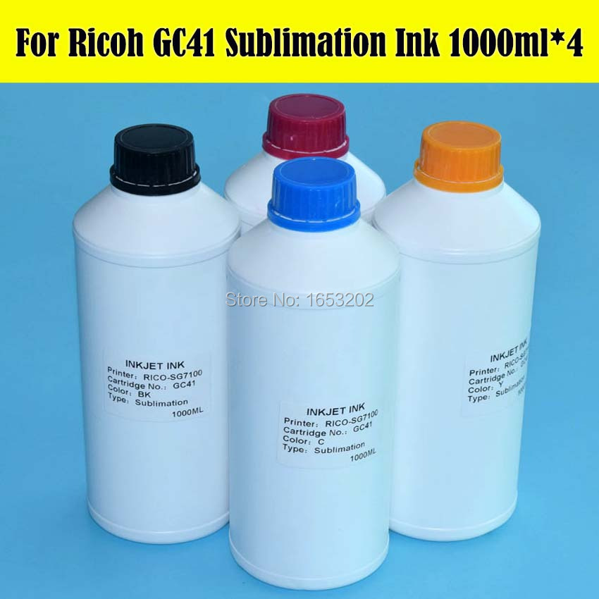Bulk Sale !! 4 x 1000ml GC 41 GC41 Sublimation Ink For Ricoh GC41 Ink Refill Kit For Ricoh SG3100/2100/2010L/3110/3120/7100 1000ml bottle sublimation ink for ricoh gc21 gc31 gc41 heat transfer ink for sg3100 sg3110 sg2100 e3300n 4colors are available