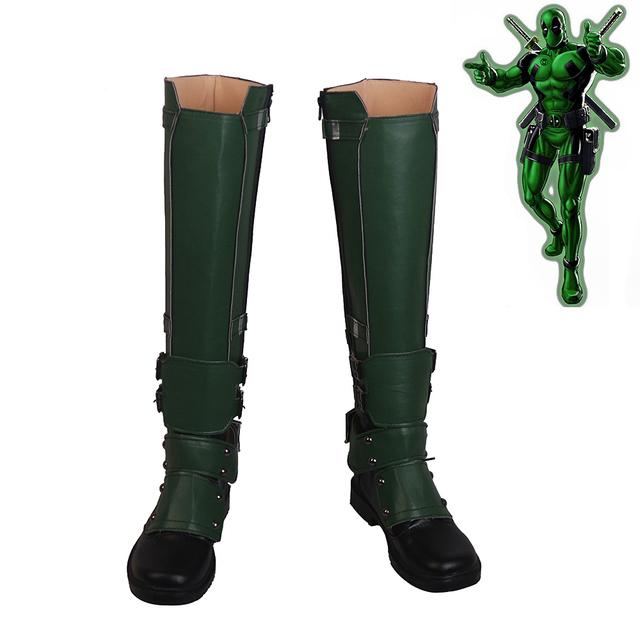 Deadpool Wade Winston Wilson Cosplay Shoes Men Boots Green Version