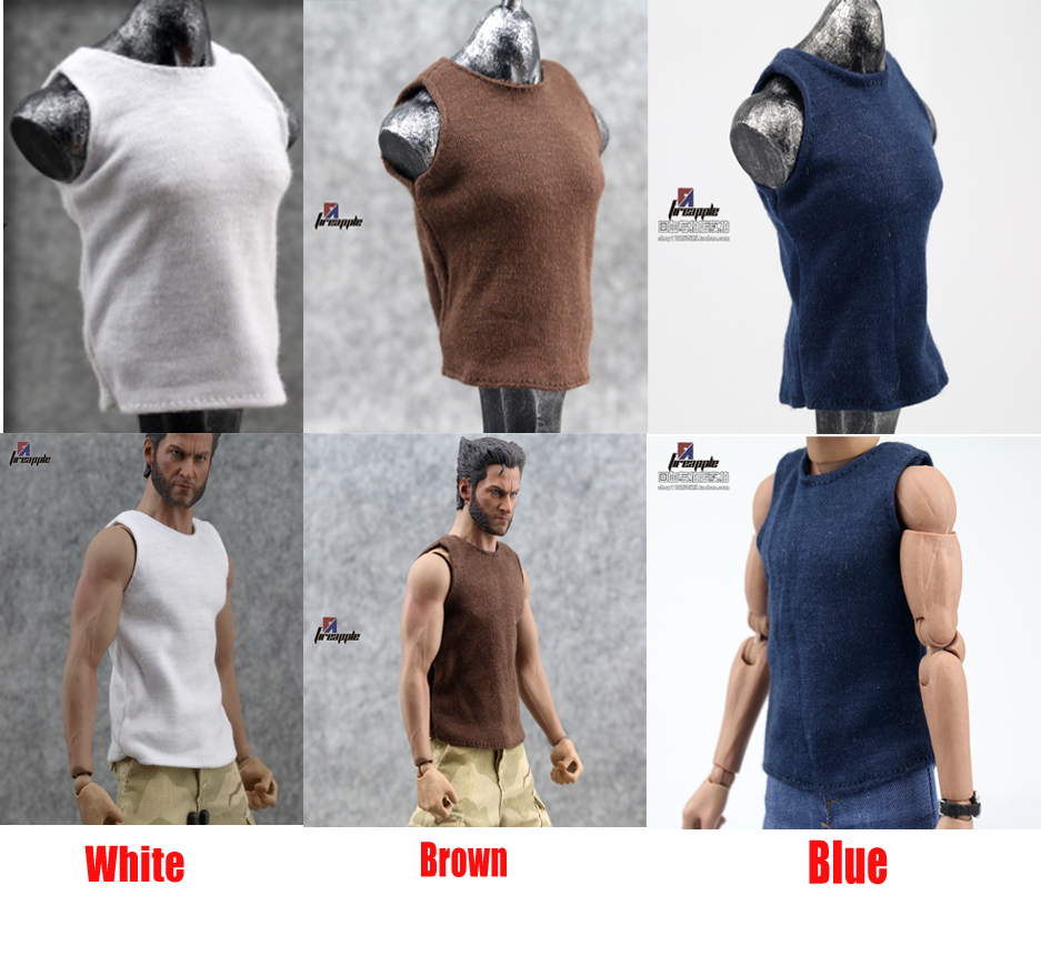 1/6 Scale Male Vest White Round neck sleeveless Fit 12 PHicen Figure White/Brown/Blue 3 Colors