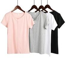 Summer Women Cotton T Shirt Casual Loose Streetwear Short Sleeve T-shirt V Neck Plus Size S - 4XL