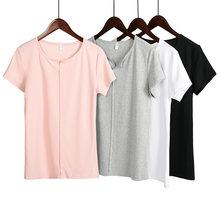 Женская хлопковая футболка с коротким рукавом v образным вырезом