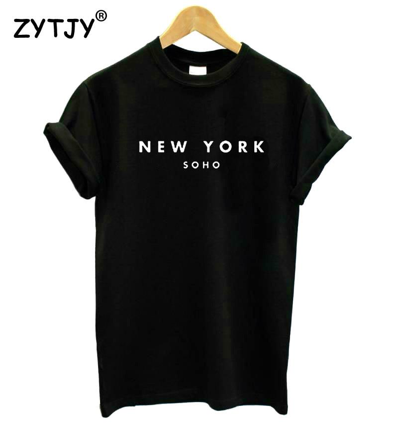 Нью-Йорк Soho Письмо Женщины футболки Хлопок Повседневная Забавный Майка для Леди Топ Тройник Hipster Черный Белый Серый Падение Корабля Z-253