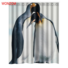 WONZOM Pengui Polyester Curtains with 12 Hooks For Bathroom Decor Modern Animal Bath Waterproof Curtain New Accessories