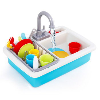 [Top] Children simulation electronic kitchen sink toy Really flowing water faucet Colorful tableware set play house toy gift