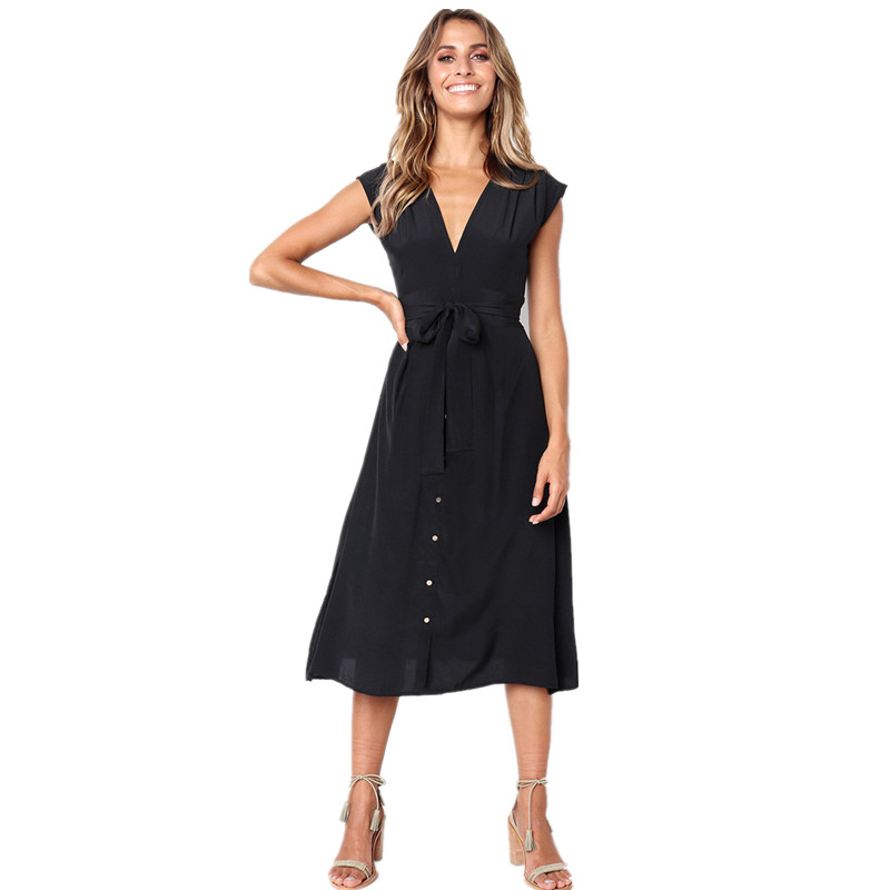 New 2019 Summer Dress Women Sleeveless Casual V Neck Bangage Loose Beach Midi Dress Female Knee Length Vintage Sundress Ladies