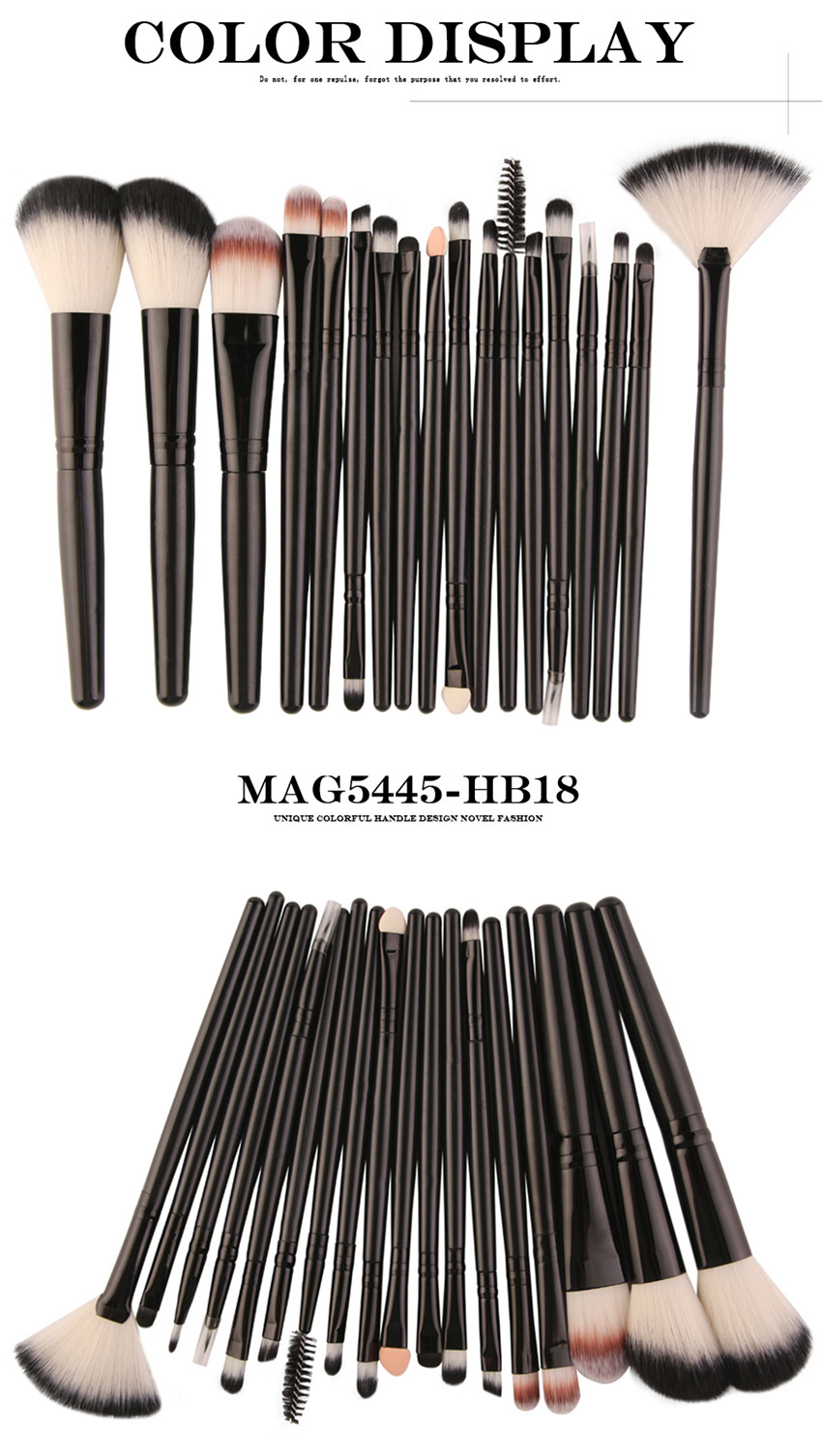 18Pcs/lot Brand Brushes Makeup Brush Set maquiagem Cosmetics Power Foundation Blush Eye Shadow Blending Fan Make Up Kits Beauty 10