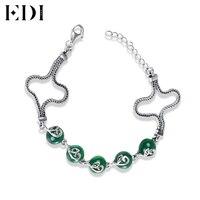 EDI Women 925 Sterling Silver Ankle Bracelet For Women DIY Green Round Stone Bangle Chalcedony Agate Barefoo Beach Leg Jewelry