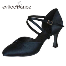Black Tan Khaki Brown Zapatos De Baile Size US 4-12 Heel Height 7cm Professional Girls Ballroom Salsa Dance Shoes NB017