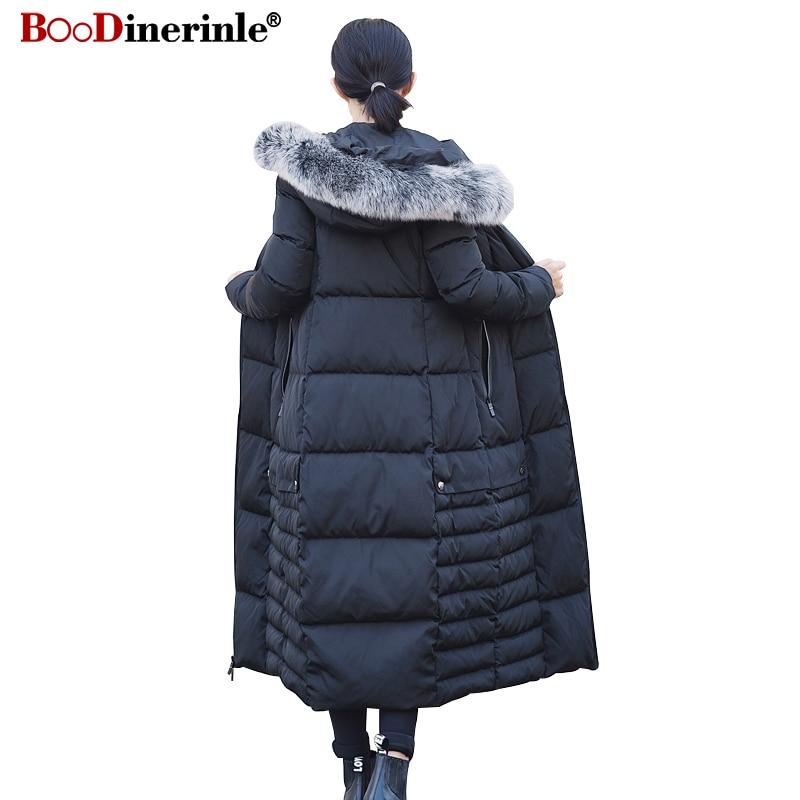 Winter Jacket for Women 2018 Female Fox Fur Collar Hooded White Duck   Down     Coat   Parka Women's Thicken Warm X-long Outwaer YR163