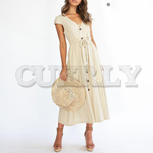 CUERLY Elegant A-line solid women dress V-neck button sash lace up female long dress Vintage bohemian summer casual dress 2019 недорого