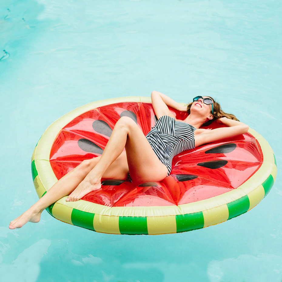 160cm Inflatable Watermelon Slice Float Pool Water Sports Inflatable Fruit Swimming Ring Floating Raft Leisure Floating Bed