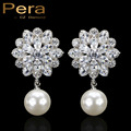 Sparkling Big Snow Flower Dangling Drop Synthetic CZ Diamond Freshwater Pearl Engagement Party Long Earrings For Women Gift E250