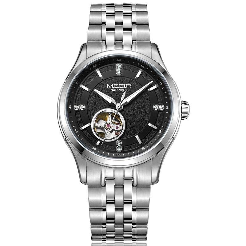 MEGIR Mens Automatic Mechanical Watches Top Brand Luxury watches Men Steel Army Military Watches Male Business