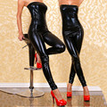 2016 Hot Sexy Women Strapless Spandex Latex Catsuit Black Faux Leather Stretch Bodysuit Pole Dancing Costumes Erotic Jumpsuits