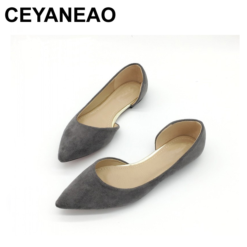 CEYANEAO Newest Women's Basic Flats Shoes Spring Autumn Pointed Toe Shallow Ballet Flats Shoes For Woman Ladies Single Shoes beyarne women s d orsay flats spring autumn pointed toe shallow mouth woman basic flats shoes ladies casual single shoes pink