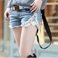 2015 новый бренд женщины Большой размер короткие джинсы бермуды feminino отверстие женщина свободного покроя джинсовые шорты женский середине талии KM550