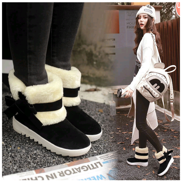 New Fashion Ankle Boots Women Winter Warmer Female Snow Boots Middle Tube Plush Bowtie Fur Suede Platform Cotton Shoes Ladies 2