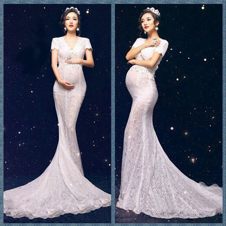 Pregnancy & Maternity Maternity Clothing Humble Matenity Gown Maxi Photo Shoot Royal Pregnant Women Photography Queen Lace Dress Maternity Photography Props Lace Dresses Y663 Delicious In Taste