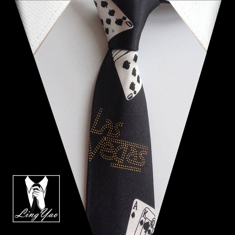 Unique Design Ties with Poker Patterns Necktie Polyester Gravatas Free Shipping