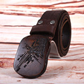 Hongmioo Cowhide Genuine Leather Plate Buckle Belt Wooden Buckle Belts For Men Christmas Gift Belt One Size 110cm