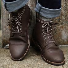 Luxury Leather Boots Men Vintage British Military