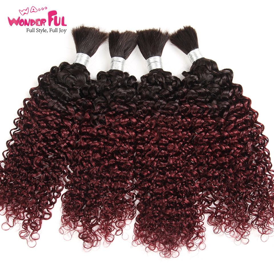 Brazilian Remy Curly Bulk Human Hair For Braiding 3/4 Bundle Free Shipping 10-28 Inch Omber Color Hair Extensions 1B/99J