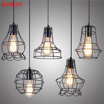 E27 Retro Pendant Lamps Vintage Pendant Light LED Abajur Iron Cage Industrial Edison Suspension Luminaire Indoor Lighting Luster фото