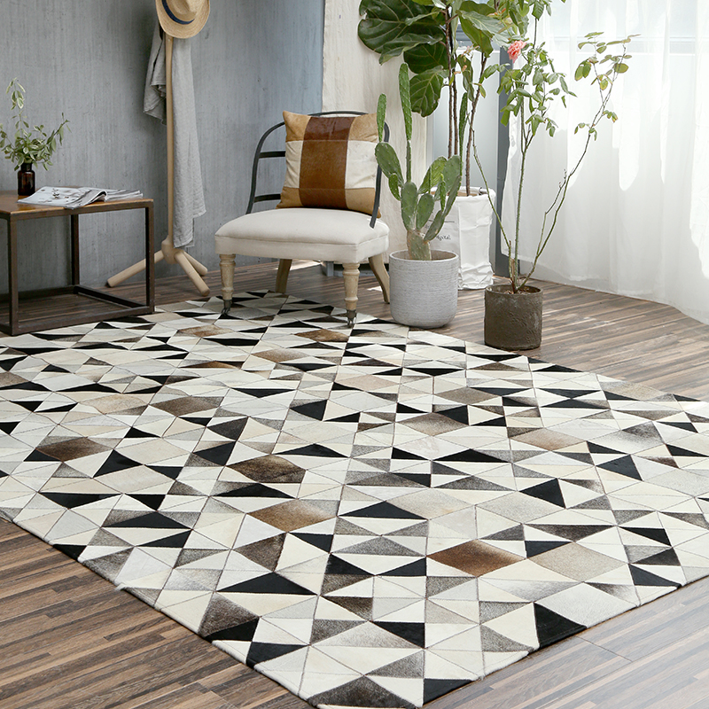 Style nordique pur peau de vache tapis géométrique puzzle tapis salon chambre thé Table tapis pur fait main épissure tapis XT 04