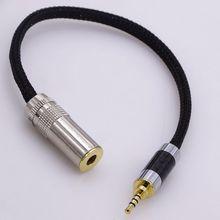 50 cm hi-end 4 fios de cobre do núcleo 2.5mm TRRS para 4.4mm cabo adaptador de áudio do sexo feminino para sony fones de ouvido