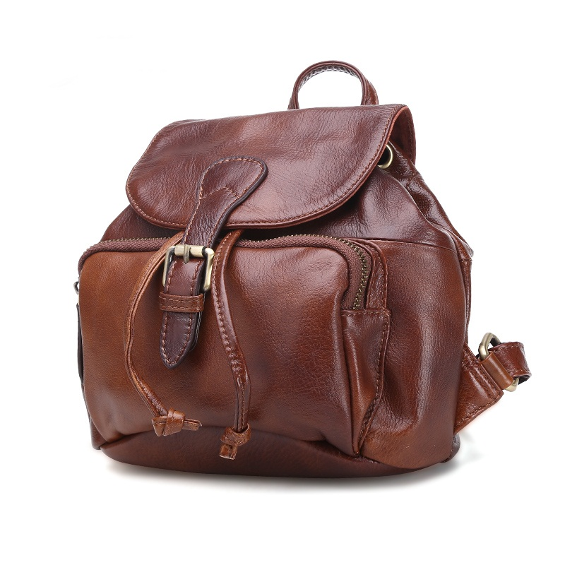 Vintage Casual Women Backpack Genuine Leather Shoulder Bag Daily Daypack Cowhide Female School Bags Travel Backpacks high quality genuine leather women backpacks female embossed flower backpack school bag vintage coffee ladies travel bags l0244