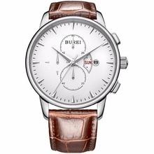 Burei Relojes Hombre Marca Moda Hombres Multifunción Reloj de Zafiro de Oro Real de piel de Becerro Impermeable 50 m Reloj de pulsera de Cuarzo de La Venta Caliente