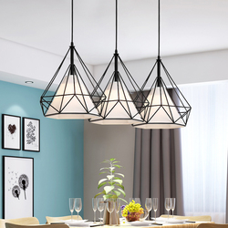 Birdcage pendant lights modern iron minimalist retro light Scandinavian loft pyramid <font><b>lamp</b></font> metal cage diameter 25/38cm